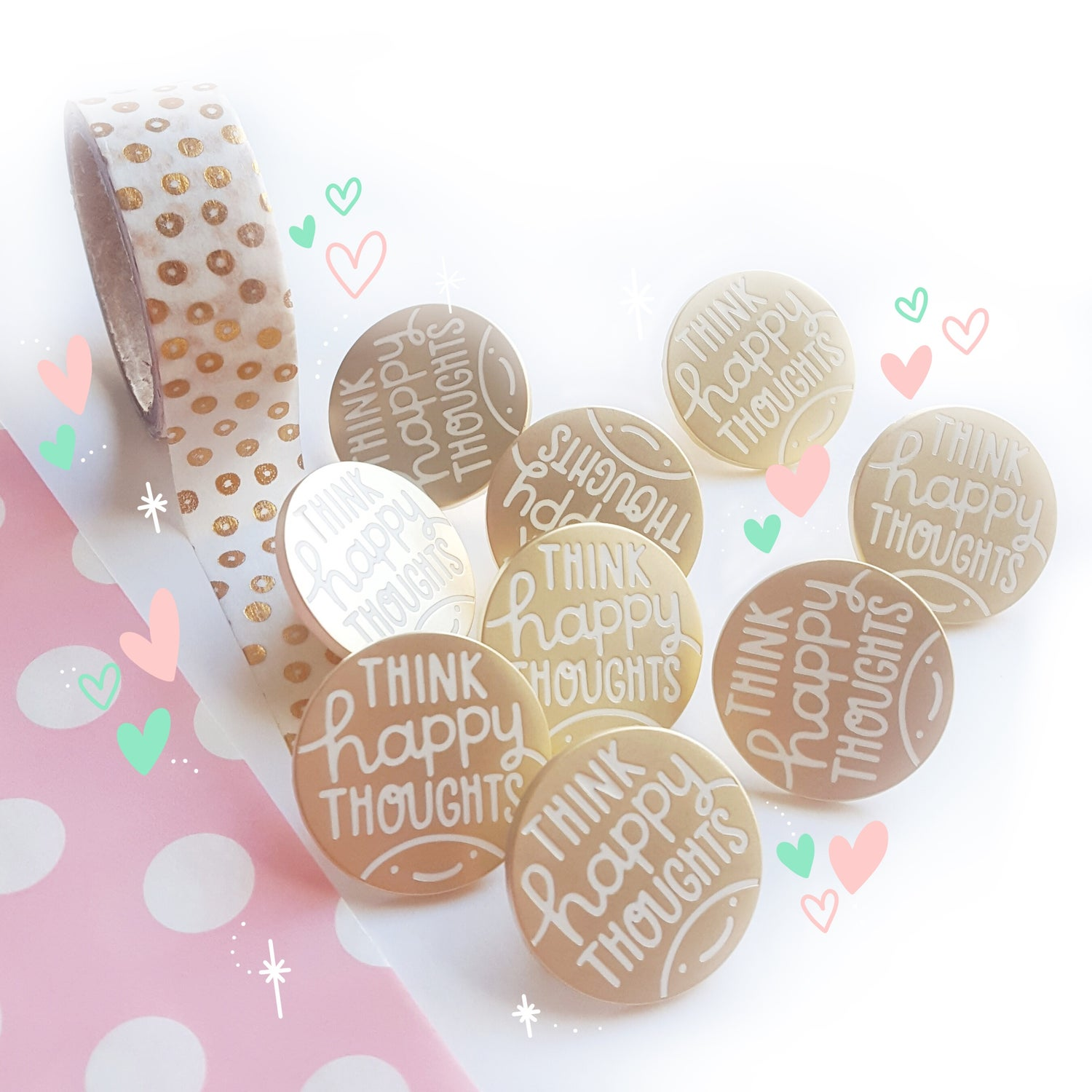 Image of Think Happy Thoughts - Matte Gold Hard Enamel Pin