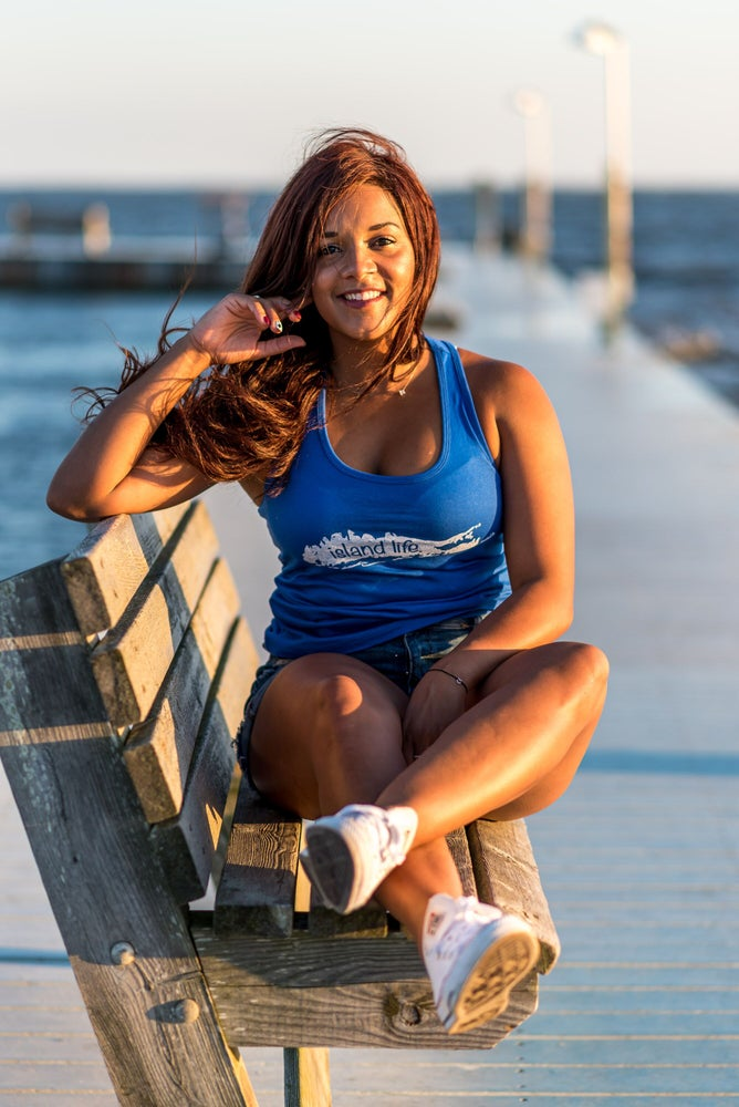 Image of Ladies Island Life Logo Racerback Tank - Royal Blue