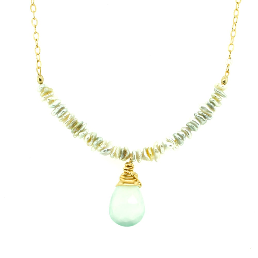 Image of Seafoam Serenity - Chalcedony Saltwater Cultured Pearl Necklace