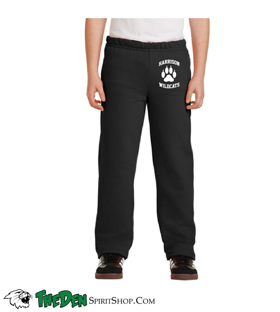 Image of YOUTH Sweatpants, Paw Print, Black