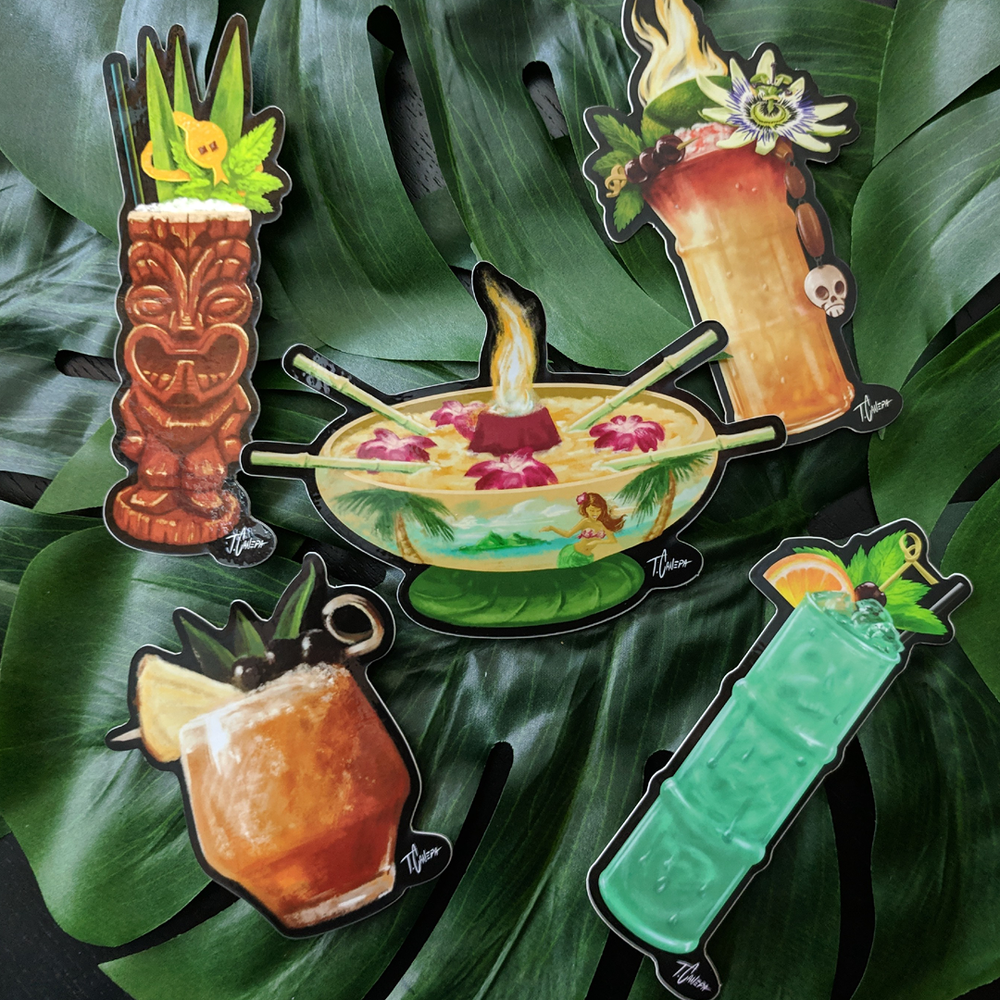 Image of Tiki Drinks Sticker 5-Pack