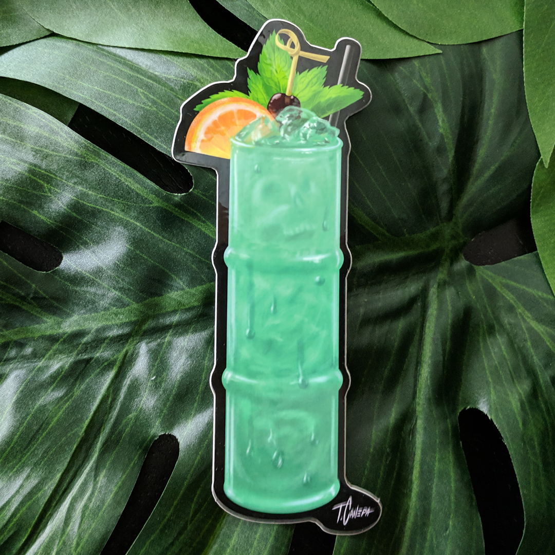 Image of Jade Idol Tiki Drink Sticker