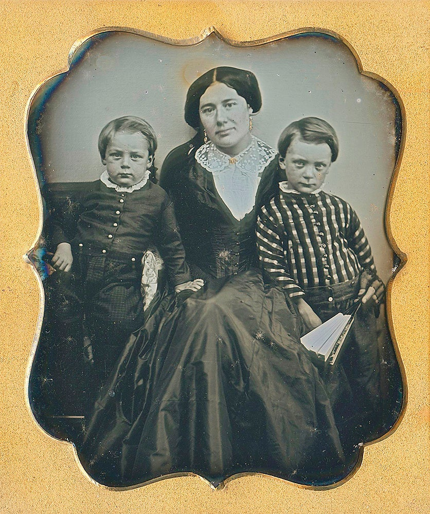 Image of Daguerreotype: mother with two young boys, 6th plate, ca. 1865