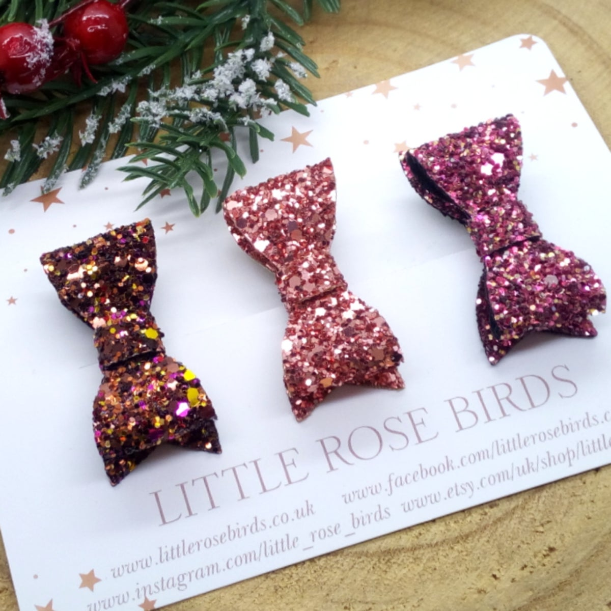 Image of SET OF 3 Autumn Chunky Glitter Bows on Headbands or Clips