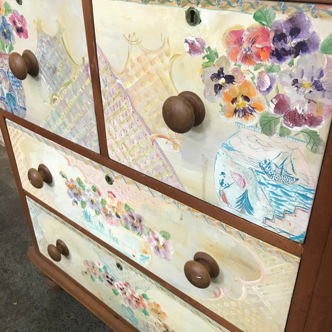Image of HAND PAINTED CEDAR CHEST