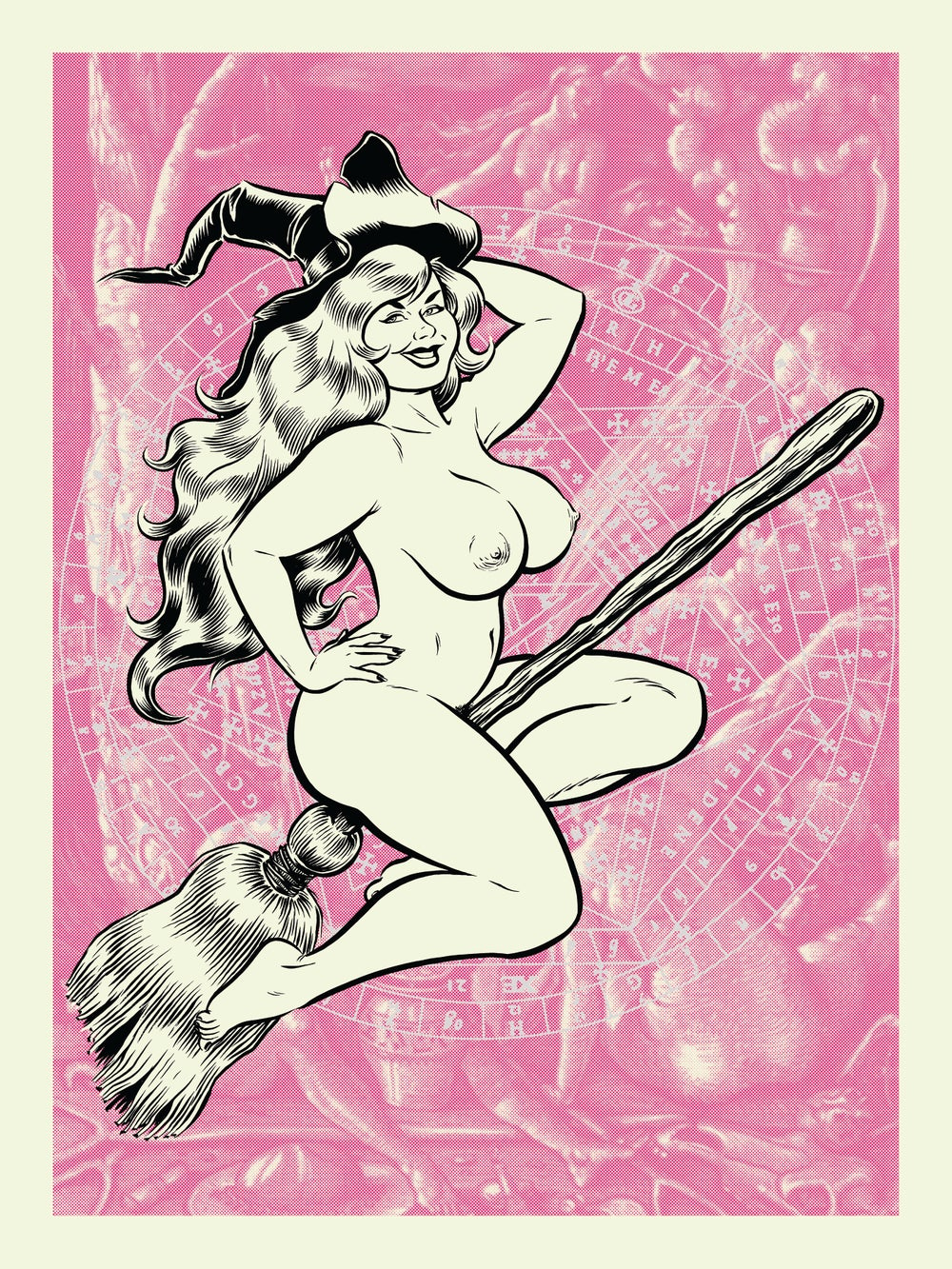 Image of BROOMSTICK WITCH silkscreen print