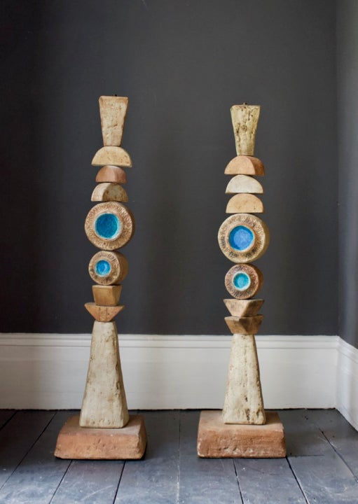 Image of Set of Two Studio Ceramic Totem Floor Lamps by Rooke, 1960s