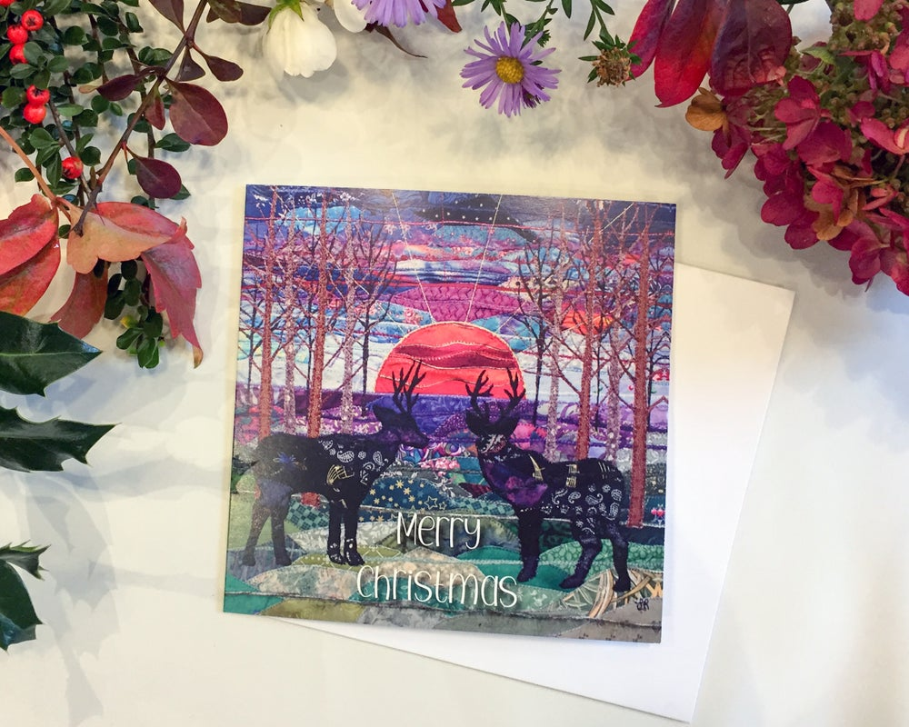 Image of Sunset Stags Christmas Card