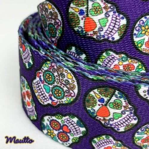 "Image of Day of the Dead / Sugar Skulls Strap for Purses & Handbags - 1.5"" Wide, Adjustable Length, #19 Clips"