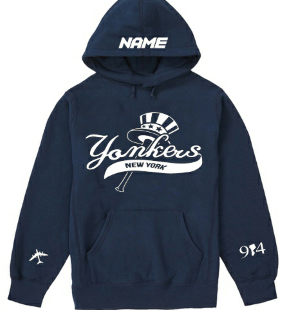 Image of YONKERS REMIX HOODIE BLACK AND NAVY ADD NAME ON TOP