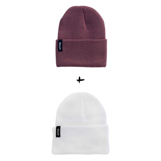 Image of Knit Cuff Beanie Bundle - Berry + White