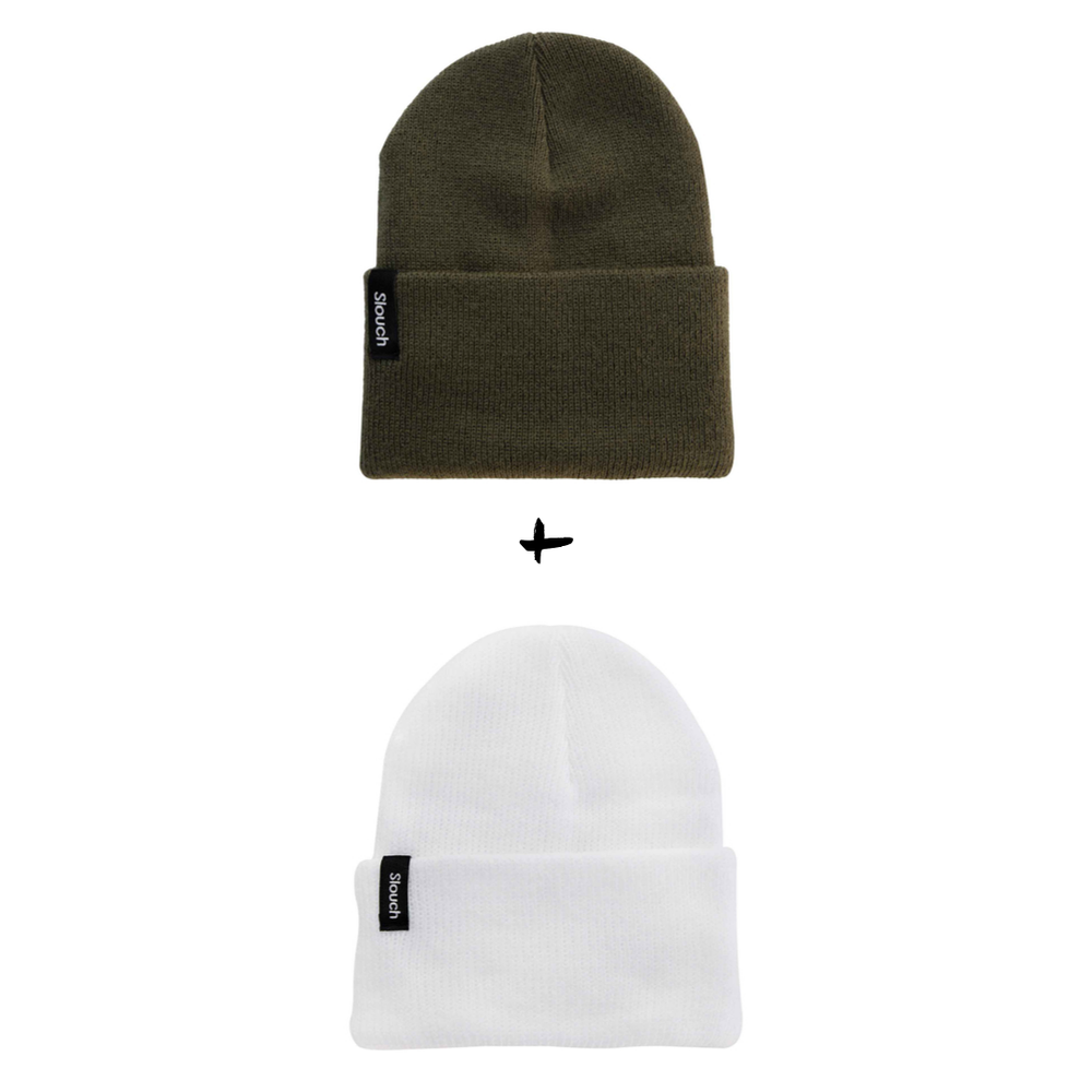 Image of Knit Cuff Beanie Bundle - Army Green + White