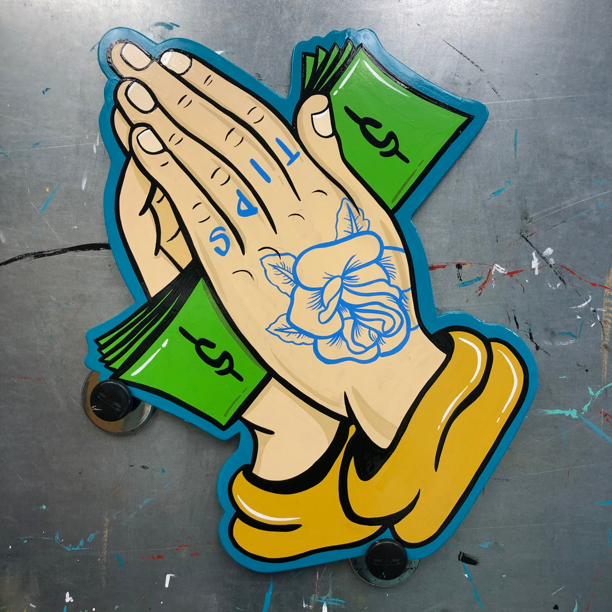 Image of Praying for Tips- hand painted sign