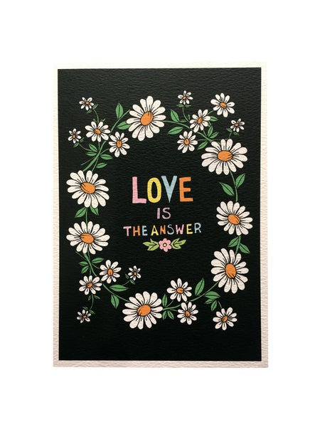 Image of Love is the Answer Daisy Chain A5 Print