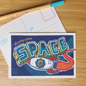 Image of WELCOME TO SPACE POSTCARD