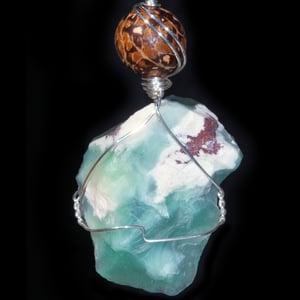 Image of Stormy Seas Aquaprase Handmade Pendant with Tagua Nut Bead
