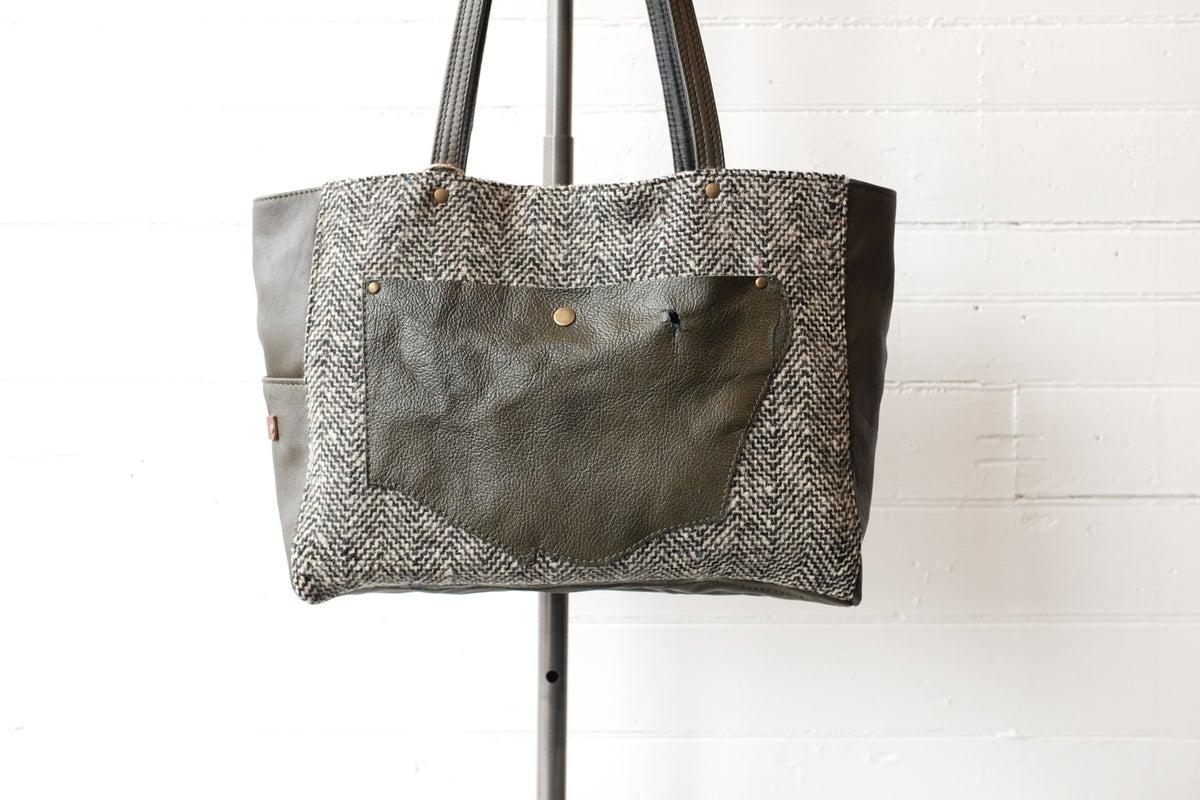 Image of Olive Green & Herringbone Wool Tote bag