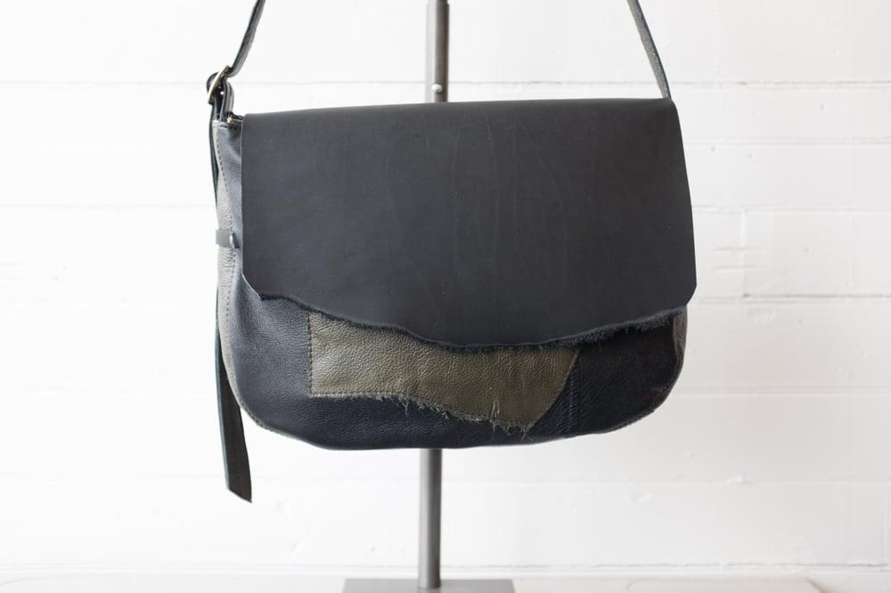 Image of Reclaimed Olive Green & Black Leather Messenger Bag