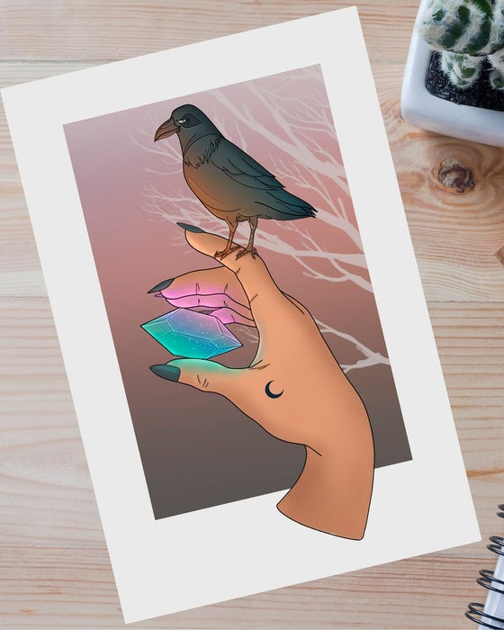 """Image of """"The crow and the crystal"""" art print"""