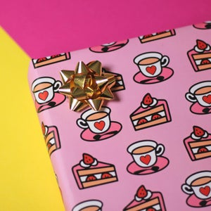Image of Luxury Tea & Cake wrapping paper - tea lover - bake off - a2 gift wrap sheets
