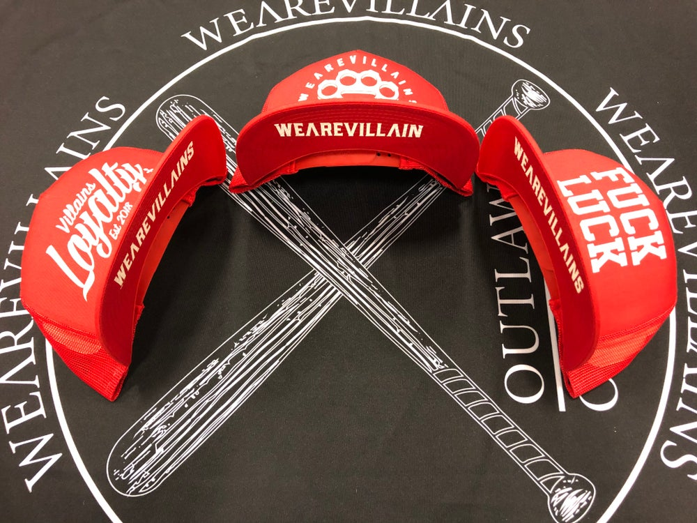 Red WEAREVILLAINS snap back/3 styles