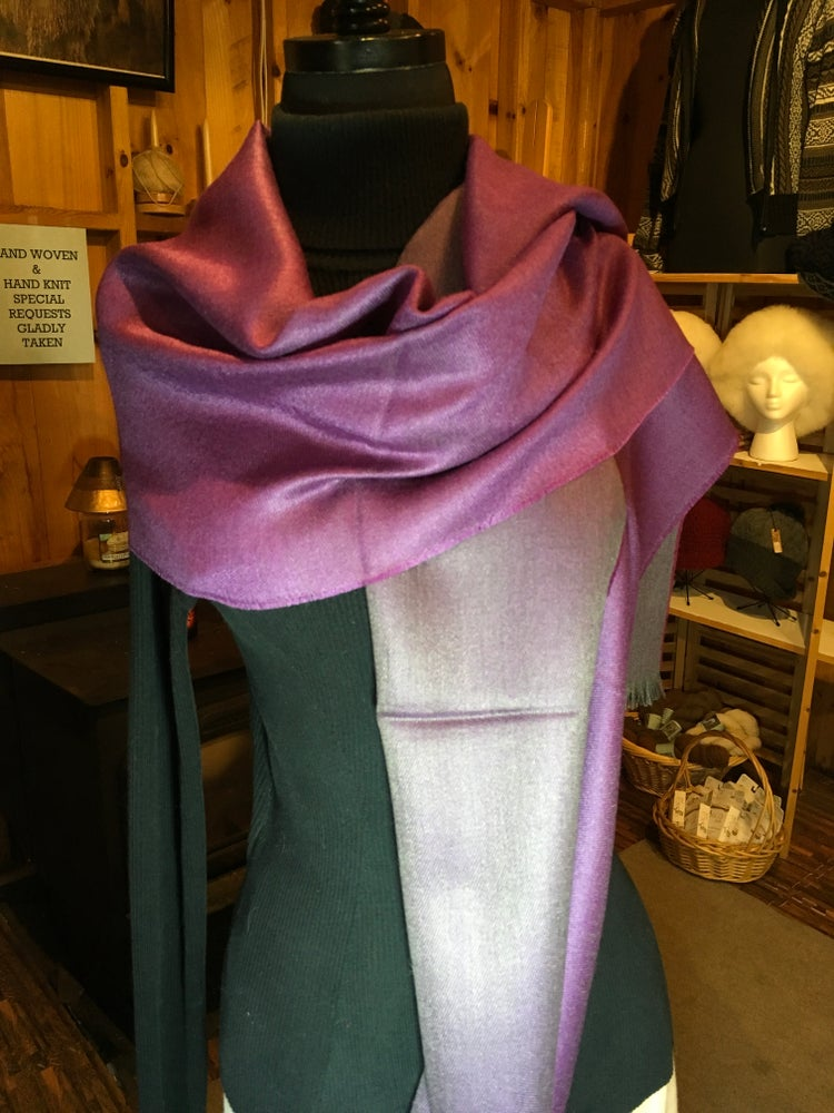 Image of Double Face Alpaca/Silk Scarf