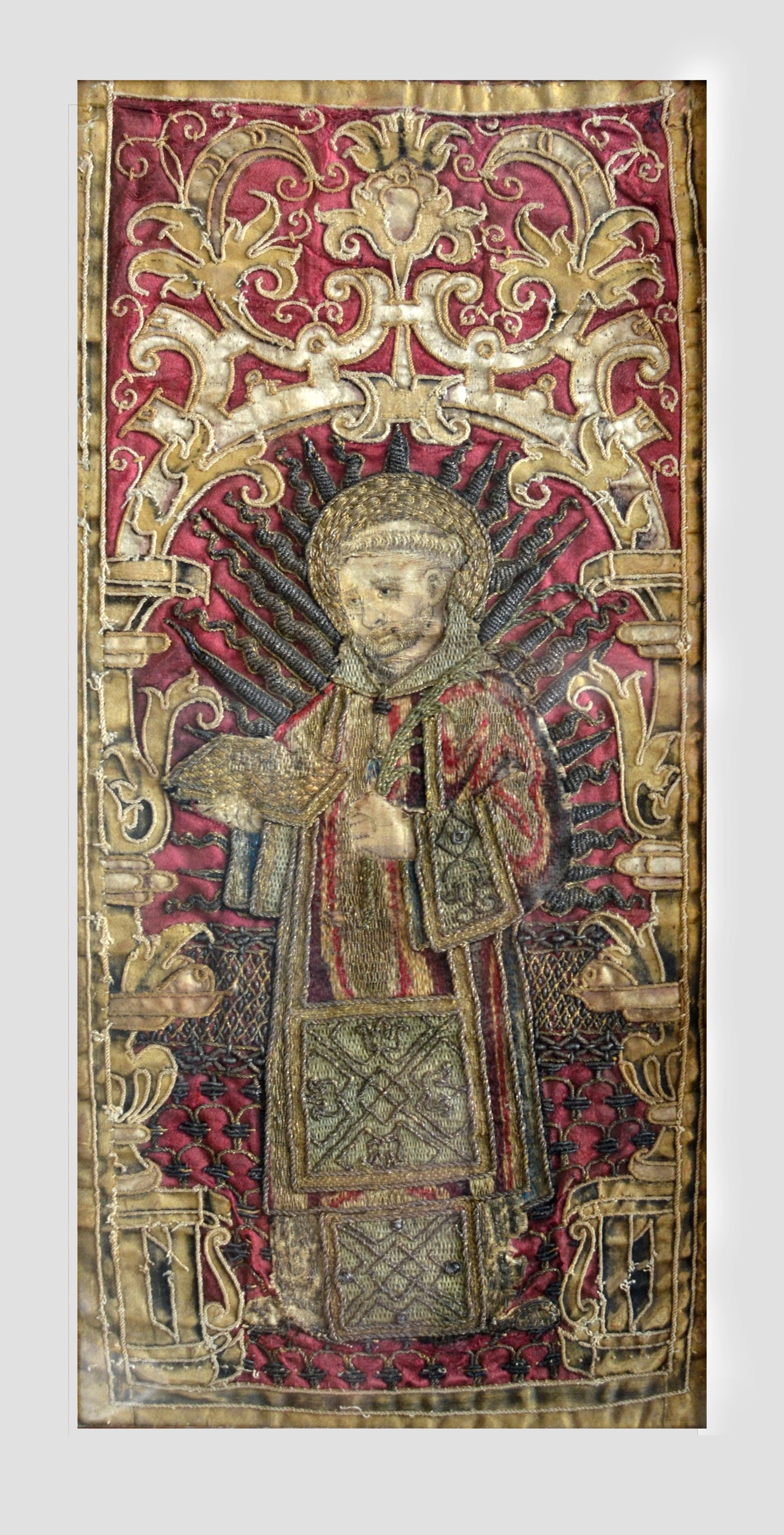 Image of Museum Quality 16th-17th cent. Velvet, Silk and Gilt Thread Embroidered Panel