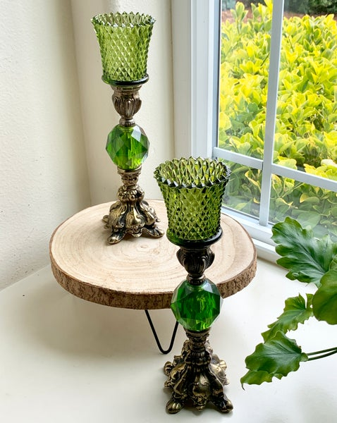 Image of Pair of Vintage Emerald Lucite, Metal and Brass Candlestands