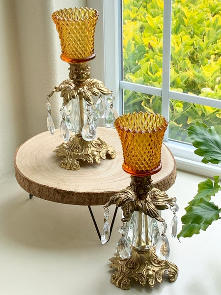 Image of Pair of vintage Amber Candlestands