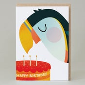 Image of Puffin Birthday Cake (Card) PUFFIN003