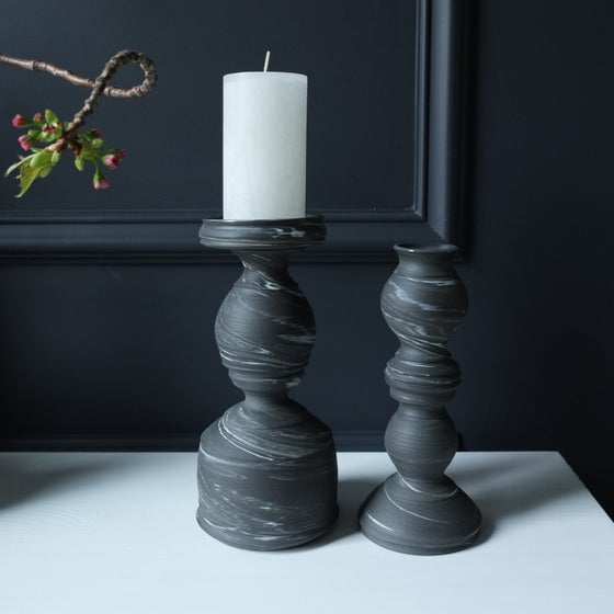 Image of Candle Holder and Skinny Vase Set of 2, Black Marbled Magic