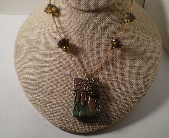 Brown Knitted Wire Necklace with Pendant