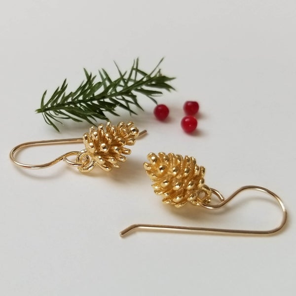 Image of Simple Pine Cone Earrings (Gold)