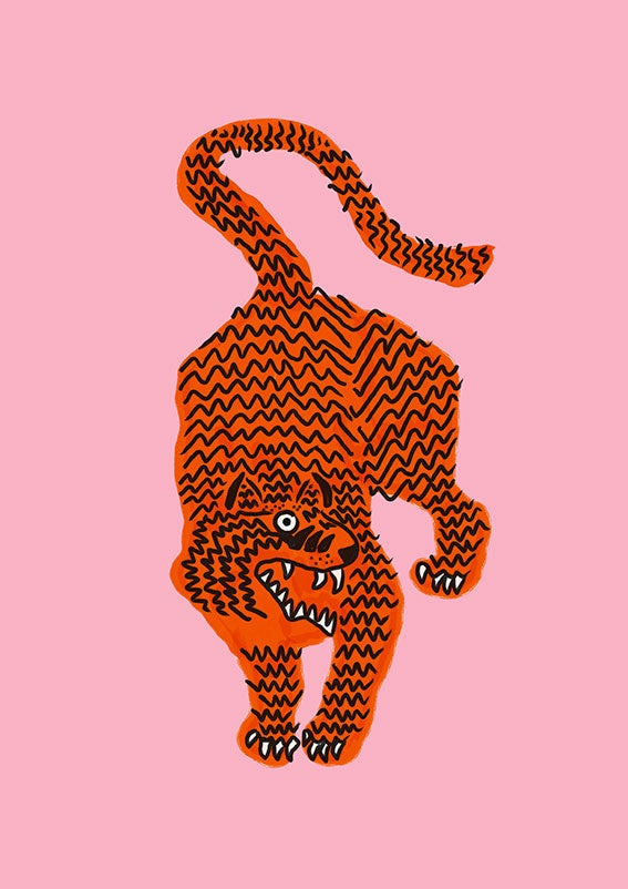 Image of Tiger soft or fuchsia pink - A3 print