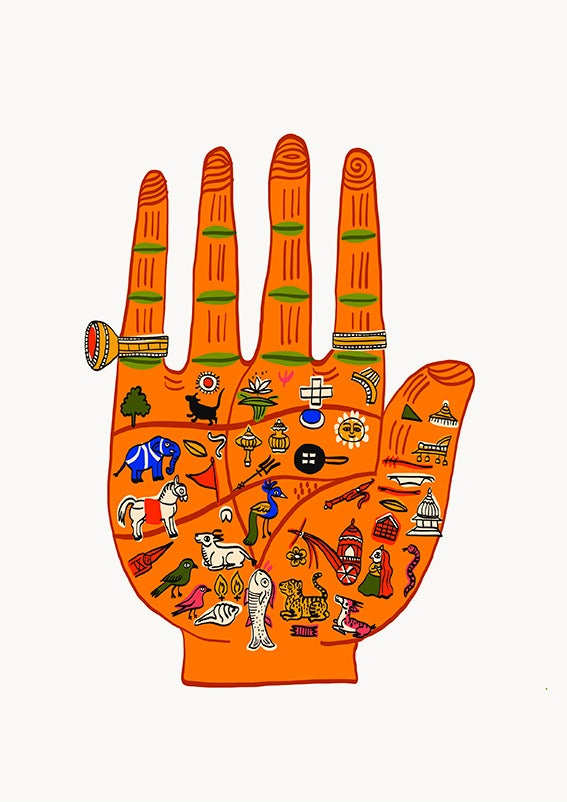 Image of INDIAN PALMISTRY orange or purple - A3 print