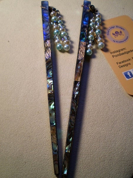 Image of Green Shell Hairsticks with Removable Charms