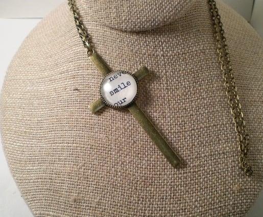 Brass Cross Necklace - Smile
