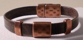 Copper and Brown Men's Leather Bracelet