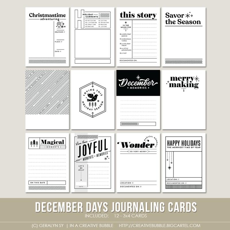 Image of December Days Journaling Cards (Digital)