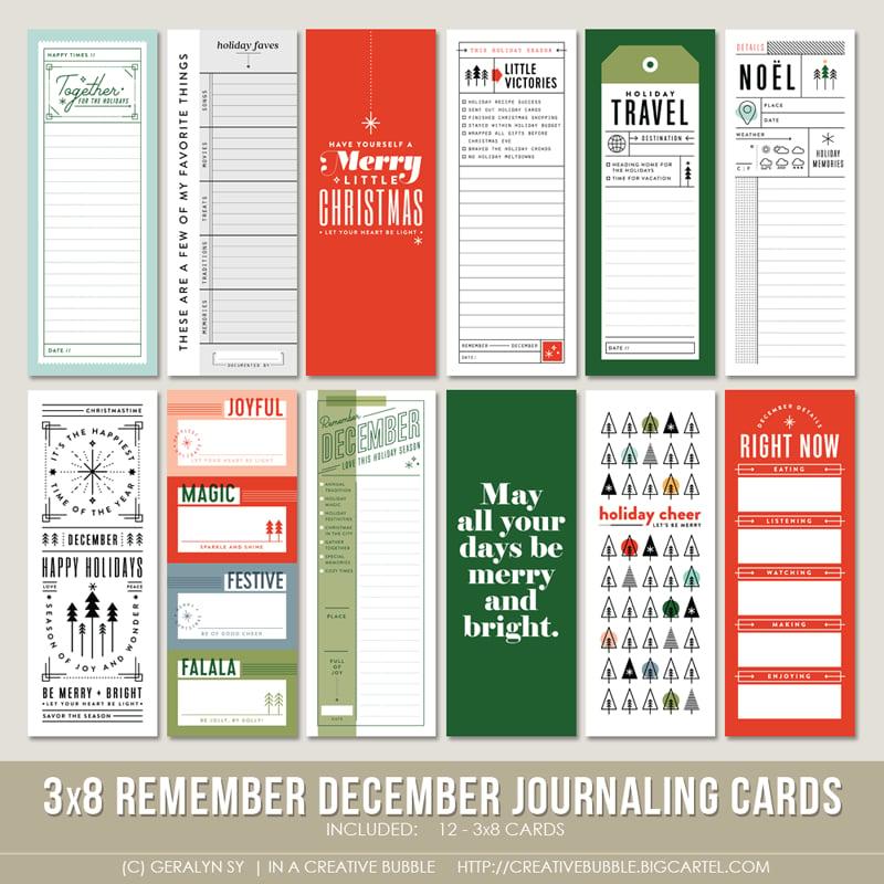 Image of 3x8 Remember December Journaling Cards (Digital)
