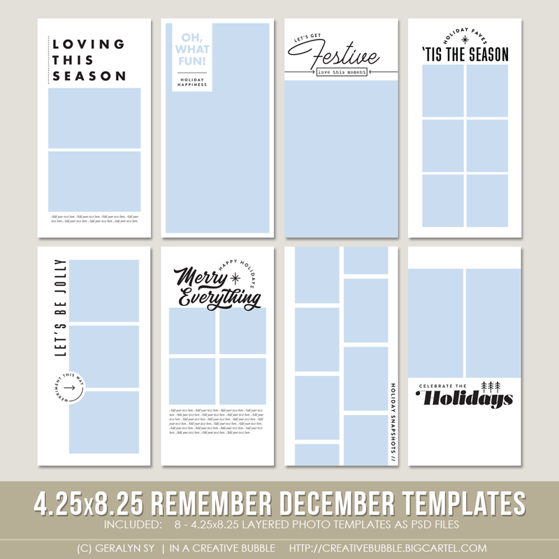 Image of 4.25x8.25 Remember December Layered Photo Templates
