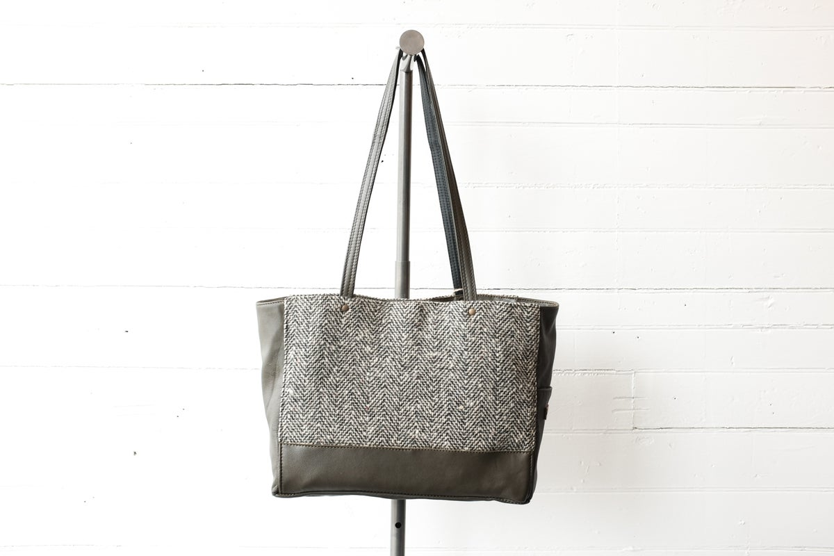 Image of Olive Green & Herringbone Wool Tote bag