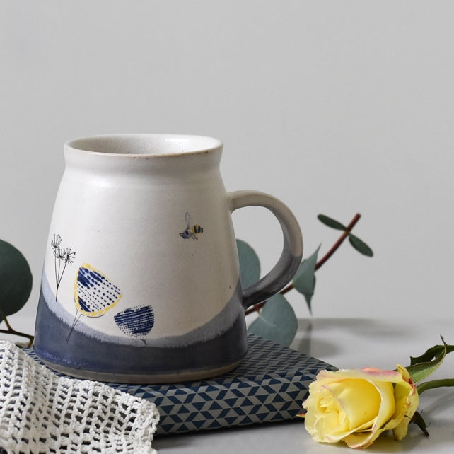 Image of ceramic mug with bee and cow parsley - handmade illustrated pottery