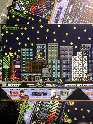 Image of Retro-City, Night Sky - Waterproof Sticker