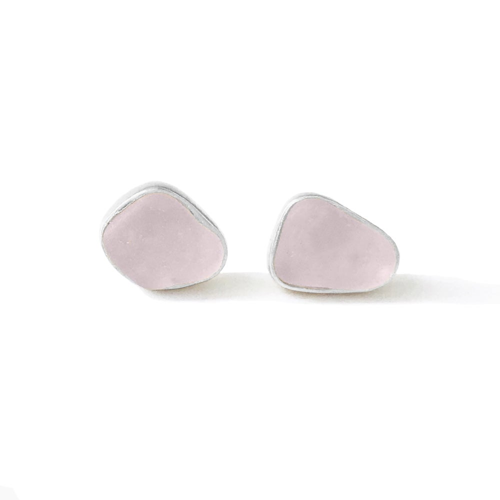 Image of Sea Glass Stud Earrings - Lavender