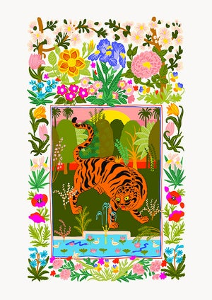 Image of TIGER GARDEN blue or white - A3 print