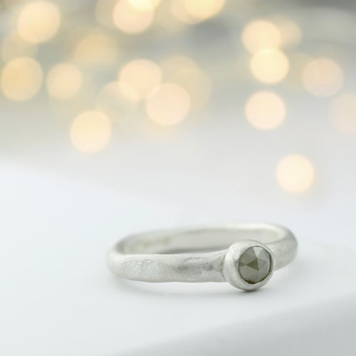 Image of Grey diamond solitaire ring