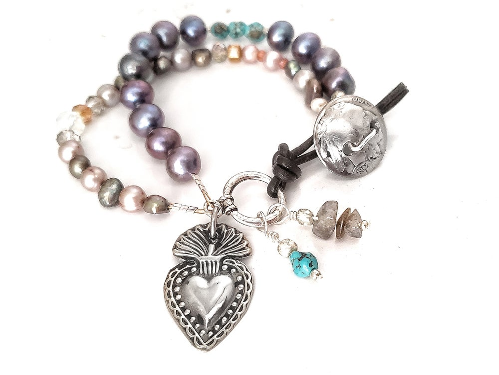 Image of Silver Milagro Sacred Heart Pearl and Turquoise Bracelet