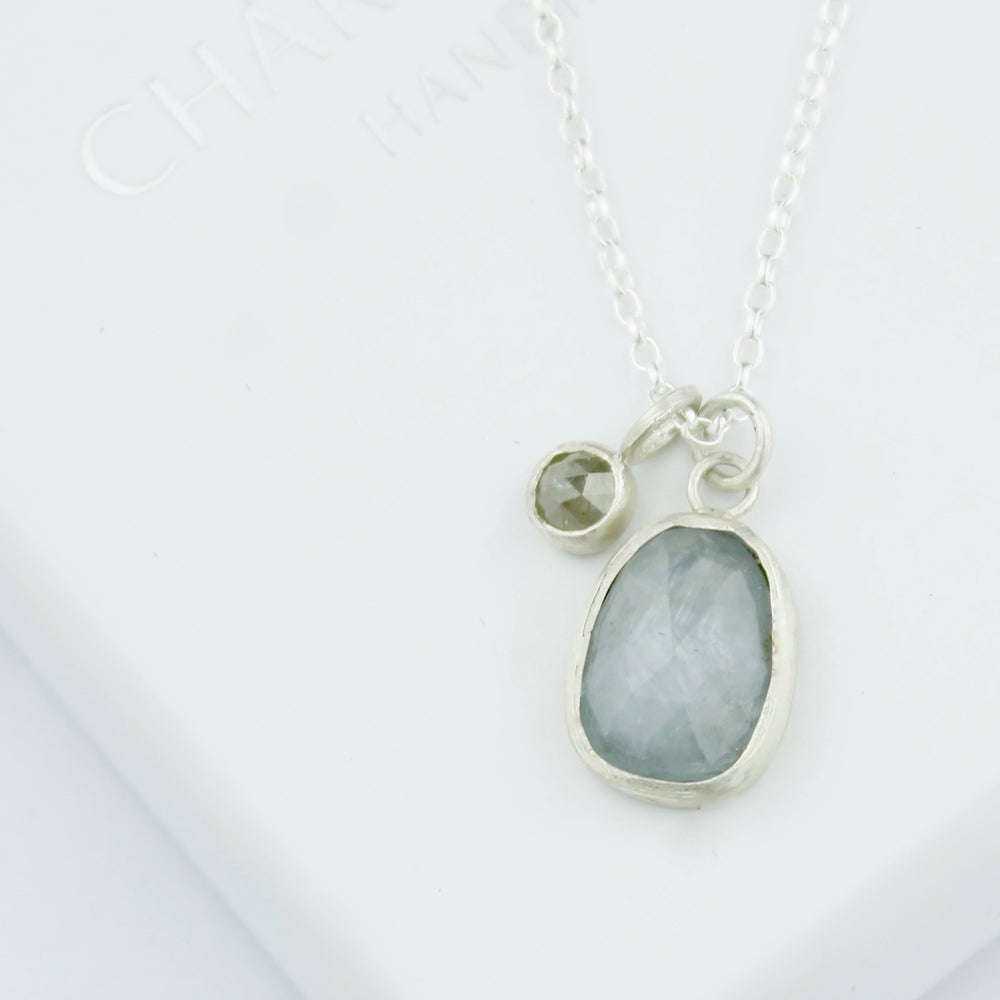Image of Grey sapphire with grey diamond necklace
