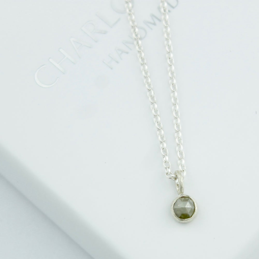 Image of Grey diamond solitaire necklace